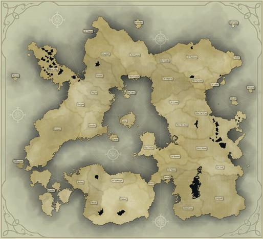 Carte de r�partition des arcanes en Oneira, cliquez pour agrandir.