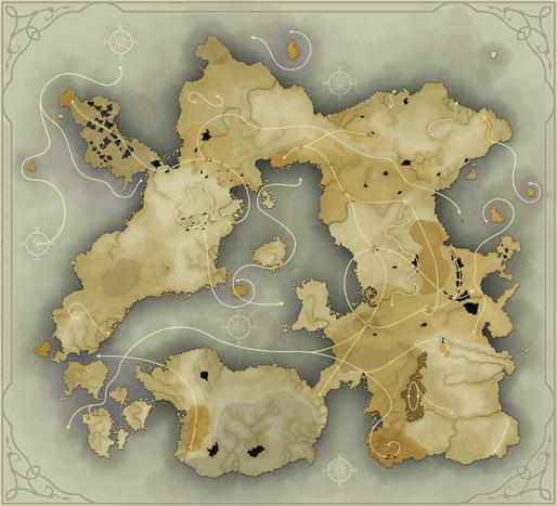 Carte de r�partition des zones et des courants magiques. Cliquez pour agrandir.