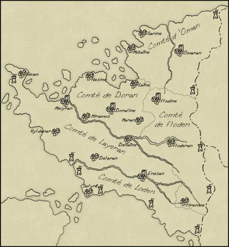 Carte des comtés et villes du Roban.