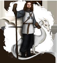Chevalier des Dalles Bleues et son dragon-blanc.