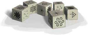 D�s du jeu d'Imalya arborant les figures dites ''de Thard''.