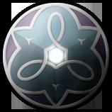 Embl�me du pays d'Ar'Kalyven : Kaly rayonne au centre du cycle du Temps, veill�e par les trois cultes.