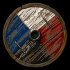 Embl�me du peuple Nelgan peint sur une roue de charriot.