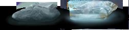 Un bloc de kahrune des monts Manokin et un bloc de kahrune translucide dite ''eau de Ca�ne''.